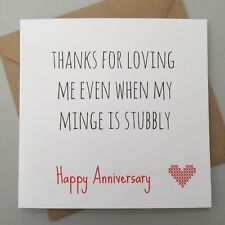FUNNY ANNIVERSARY CARD/ RUDE / HUMOUR/ FUN / SARCASM / CHEEKY - STUBBLY M