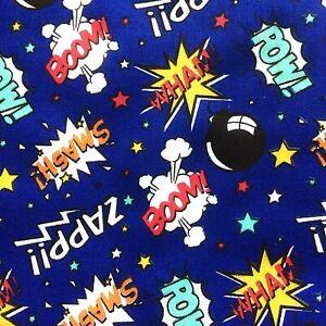 NEW! PolyCotton Fabric Kids Navy Blue Superhero Boys Pow Print Reduced Prices