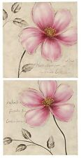 2er Set Moderno y pintado a mano Imágenes con flores 50x50x2,5 cm