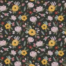Baumwollstoff GOTS Bio Popeline Wiesenblume abstrakt dunkelgrün bunt 1,50m Breit