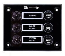 Marine 3 Gang Fuse Switch Panel 12V (BLACK) /Boat / Yacht