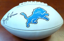 BARRY SANDERS AUTOGRAPHED SIGNED LIONS WHITE LOGO FOOTBALL PSA/DNA 105714
