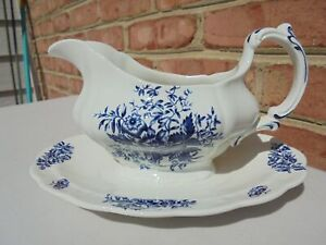 Vintage Booths Peony Blue Transferware Gravy Boat w Attached Underplate