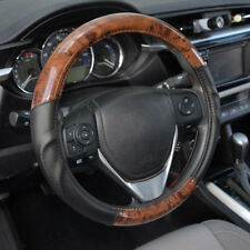 ACDelco Strong-Grip Premium Smooth PU Leather Steering Wheel Cover - Dark Wood
