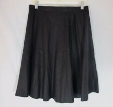 Black Linen Cotton Flare Skirt Handmade Medium