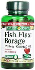 Nature's Bounty Fish, Flax, Borage 1200 mg Omega 3-6-9 Softgels 72ct 9/17+