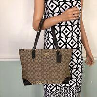 NEW COACH Signature Zip Tote Shoulder Bag Purse Brown