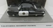 CA CALIFORNIA 3 POLICE PATROL CAR BLACK 1949 FORD 2DR 1/43 WHITE ROSE MATCHBOX