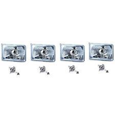 "4X6"" Halogen Semi Sealed H4 Headlight Headlamp Bulbs Diamond Crystal Clear Set"
