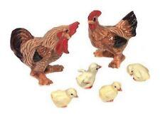 Miniatures porcelaine _ Coq poule poussins Rhode 1,5 à 5cm _ Série compète 6pcs