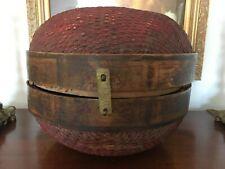 Antique Primitive Chinese Rice Grain Woven Banded Barrel Shape Basket/ Lid~15X12