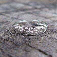 Out Flower Toe Ring 4mm Tr1041 Hawaiian 925K Sterling Silver Scrolling Cut