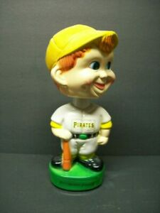 Very Rare 1970's PITTSBURGH PIRATES Hard Plastic Boy Face Green Base Bobblehead