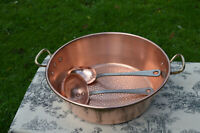 French Vintage Copper Jam Pan Jelly Preserves Pan Hammered Base Solid Copper Cas