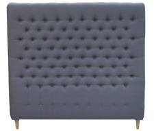 Aragon Bedhead Queen Padded Upholstered Fabric Button Studded Charcoal Headboard