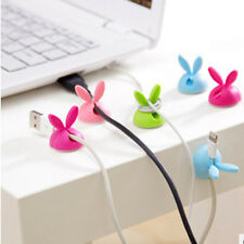 6PCS Rabbit Cable Drop Clip Desk Tidy Organiser Wire Cord USB Charger