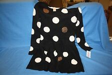 Cat Jack Girls Black Sweater Dress White Polka Dots Sequins L 10/12 Long Sleeve