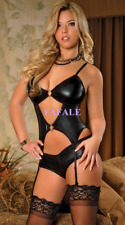 Womens Sexy Lingerie Black PVC Leather Tops+Panties Set Bodysuit Teddy Sleepwear