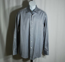 "Hugo Boss Blue-Gray Pinstriped ""Selection"" Dress Shirt Men's Sz L"