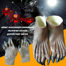 Werewolf Monster Hands Gloves & Feet Shoes Adult Halloween Fancy Dress Costume