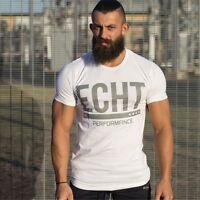 Men's ECHT Fitness Gym Muscle Training Basic Cotton Bodybuilding T-shirt Tee