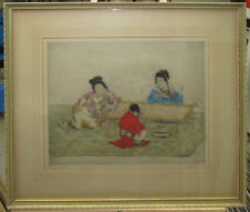 """Elyse Ashe Lord 1920s Color Etching """"Chinese"""" Listed British Artist"""
