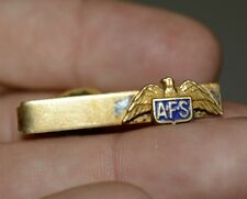 Vintage AFS Eagle Auxiliary Fire Service Golden Men's Tie Bar Clasp Rare