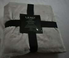 NEW Ralph Lauren TWIN/OVERSIZE THROW Classic Micromink Blanket Wht/Cre 66 X 90