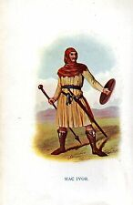 1845 PRINT ~ SCOTTISH CLAN TARTAN ~ MAC IVOR ~ SWORD SHIELD SPEAR