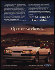 1990 FORD MUSTANG LX Convertible Sports Car - Open The Weekends - VINTAGE AD