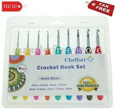Cheffort Clover Amour Steel Pastel 9 Pcs Ergonomic Grip Crochet Hooks Set Bright
