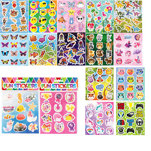 Childrens Stickers Kids Birthday Party Sticker Sheets Loot Bag Party Fillers