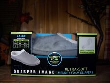 SHARPER IMAGE UNISEX MEMORY FOAM SLIPPERS SIZE LG MENS 9-10 LADIES 10-11 GRAY