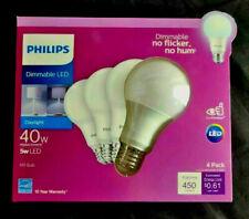 Philips A19 E26 (Medium) Led Bulb Daylight 40 Watt Equivalence 4 Pk