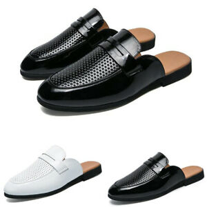 Mens Half Slippers Casual Leather Shoe Round Toe Sandals Slip On Loafers Sliders
