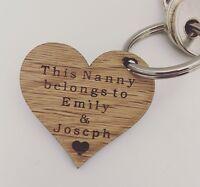 Personalised Keyring This Nanny Belongs To Nan Grandma Mother's Day Wooden Oak