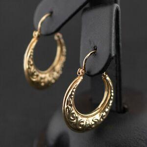 (SO4) 9ct Yellow Gold Patterned Creole Hoop Earrings 1.6grams