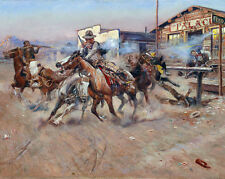 Wild West .45 Gun Fight Russell Cowboy Horse Painting 8x10 Canvas Art Print