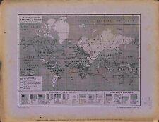Carte Map Mappemonde mappa mundi Drapeaux des Alliés Ennemis 1916 WWI