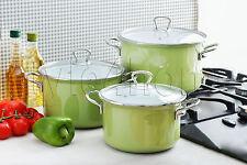 HIGH QUALITY 6 pc Pot Set ENAMEL POTS Casserole Cookware Green FUSION FRESH