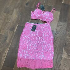 BNWT Love & Other Things ASOS Pink Lace Co Ord Set Bralet & Skirt Small