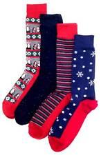 $45 Club Room Mens 4 Pair Pack Casual Dress Red Blue Stripe Crew Socks Shoe 7-12