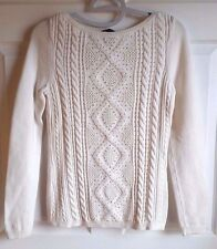 WHITE HOUSE BLK MARKET IVORY - STUD EMBELLISHED - CABLE KNIT SWEATER LADIES SM