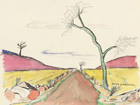 Danyk D'Arsonval - 20th Century Pen and Ink Drawing, Colourful Landscapes