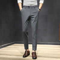 Mens Business Formal Striped Casual Dress Pants Skinny Slim Fit Cropped Trousers