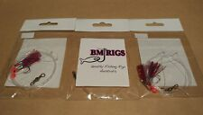 BM RIGS 3 x Whiting Rig Fishing Rigs with flasher circle hooks 20lb Red Purple