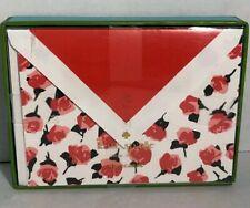 Kate Spade Note Cards ROSE FLORAL Box Set 10 Blank Fashion Designer