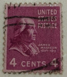 United States 4 Cents Used Postage Stamp - James Madison 1809 - 1817