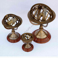 SET OF 3  BRASS ARMILLARY SPHERE TABLE TOP NAUTICAL ASTROLABE GLOBE ARMILLARY