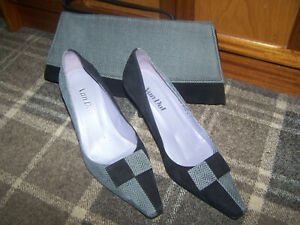 Ladies herringbone suede pointed toe heels & matching bag size UK 6 Van Dal vgc